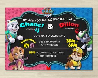 Paw Patrol Birthday Invitation,Dual characters,Sibling Birthday Invitation, 5x7, Printed or Digital File***FREE SHIPPING