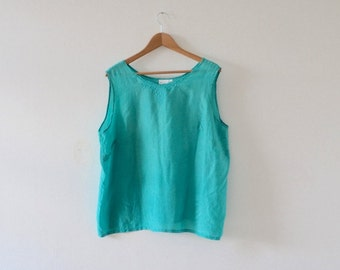 Vintage Teal Silk Top  |   Pure Silk Top  |  Silk Turquoise Blouse  |  Vintage Sleeveless Blouse