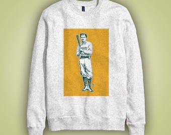 Sweatshirt gris joueur de baseball PHILADELPHIA OAKLAND ATHLETIC'S en 1874 - illustration sport couleur imprimée