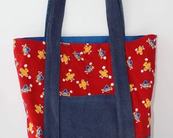 Child's tote bag from upcycled airplane corduroy and denim