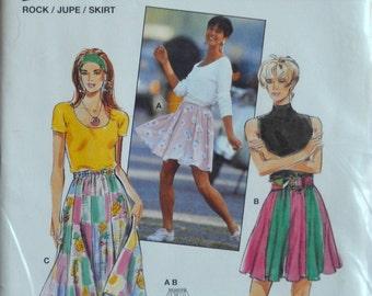 Uncut 1990s burda Vintage Sewing Pattern 4551, Size 10, 12, 14, 16, 18, 20; Misses' Skirt