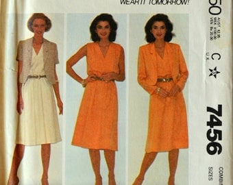 Uncut 1980s McCall's Vintage Sewing Pattern 7456, Size 12-14-16;Misses' Jacket and Dress