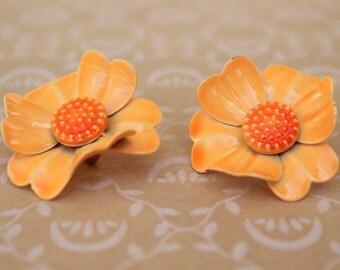 Vintage Bright Orange Enamel Flower Clip Earrings