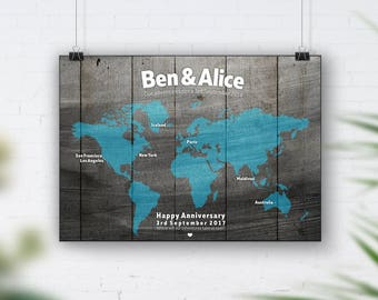 Aqua World Map, Travel Bucket List, Personalised Travel Map, 1st Wedding Anniversary Gift, 40th Birthday, Places We've Been, Wood Wall Art