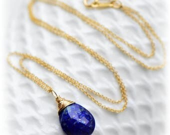 Lapis Lazuli Necklace, Lapis Lazuli Pendant, Lapis Lazuli Gold Jewelry, Small Dark Blue Lapis Necklace, Lapis Pendant Gift For Her Blissaria