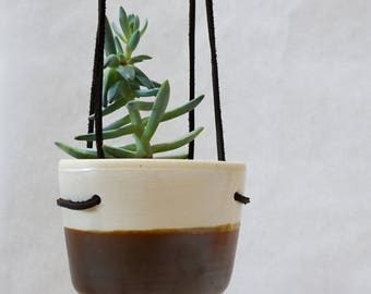 Hanging Wall Planter for Succulents and Airplants, Matte White Metallic Bronze Clay Ceramics Pottery Plant Pot, Minimalist Modern New Rustic