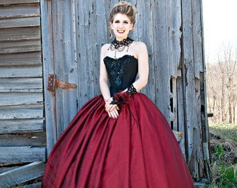 Red organza ball gown skirt Prom satin skirt Wedding gown separate Full bridal skirt Red gown Maxi layered skirt Lace Crinoline underskirt