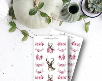 Burgandy Floral & Deer (17 Planner Stickers) || SeattleKangarooPlans
