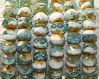 Czech Glass Beads, 8x6 Rondelle, 25 Beads
