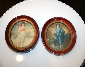 Pinkie and Blue Boy//Oval Framed Pinkie and Blue Boy//Home Decor//Vintage Pictures