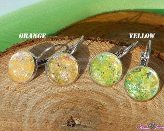 Shining earrings Yellow Orange glitter earrings Mica dangle earrings Yellow jewelry Orange silver earrings Sparkling Earrings Resin glitter