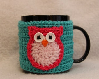 Mug Cosy in Aqua Green with Pink Owl (Crochet Handmade)  / Cup Cozy Valentines gift
