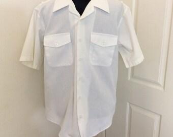 Vintage Navy Shirt, Father's Day Gift, Creighton White Shirt, Short Sleeve Navy Shirt, Military Uniform Shirt, Size ML 16, US Navy Shirt