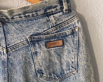 1980's High Rise Acid Wash Skinny Vintage Distressed Denim Jeans by Gitano