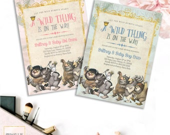 Where The Wild Things Are Invitation, Where The Wild Things Are Baby Shower, Wild Thing On the Way, Storybook Baby Shower Invitation
