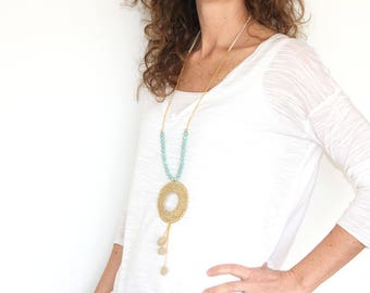 Beige beaded tassel necklace boho with pendant, crochet long necklace with pendant, beige long tassel necklace, long pom pom necklace