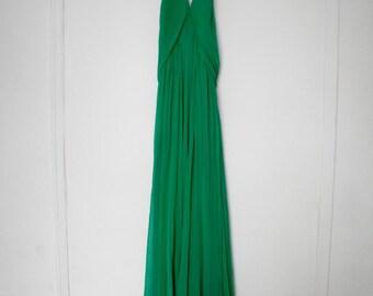 SALE 1970s Disco 100% Silk Emerald Halter Maxi Dress Vintage