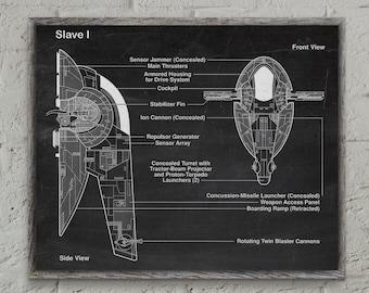 Star Wars Art Print Slave I, Star Wars Grid Paper,at at Vintage Art,Slave I Poster, star wars Print,Wall Art, Star wars gift #P244