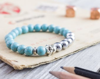 8mm - Turquoise and silver plated hematite beaded silver smiling Buddha head stretchy bracelet, mens bracelet, womens bracelet