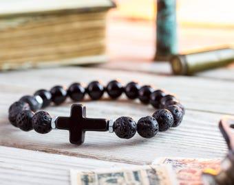 8mm - Black Onyx & lava stone beaded stretchy bracelet with black cross, made to order yoga bracelet, mens bracelet, womens bracelet