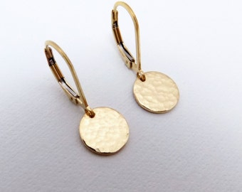 Small Gold Earrings. Free Shipping. Gold Coin Earrings. Hammered Gold Earrings. Gold Filled. Leverback Lever Back. Dainty. Minimal.  3/8""