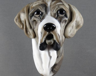 NEW!  Great Dane Focal Lampwork Glass Dog Bead