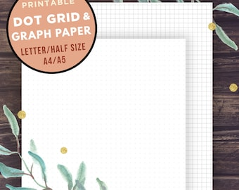 Bullet Journal Template, GRAPH paper and Dot Grid, Half Size, Letter Size, A5, A4, Filofax Refills, bujo sheets planner, Instant Download