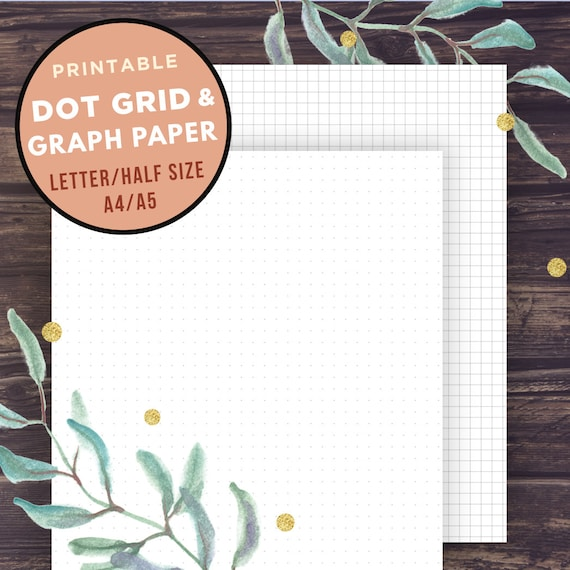 Bullet Journal Template Graph Paper And Dot Grid Half Size