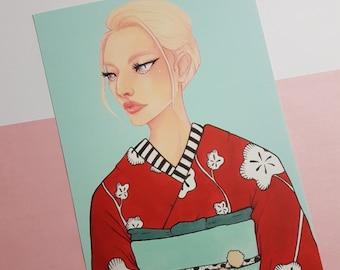 Kimono illustration 01 | A5 Art Print | copic drawing, fashion illustration, pastel colors, kimono pattern, japanese fashion, wall art