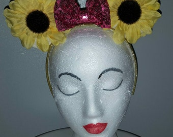 Clearance! Yellow Sunflower Minnie Mouse Ears Headband with Pink Sequin Bow