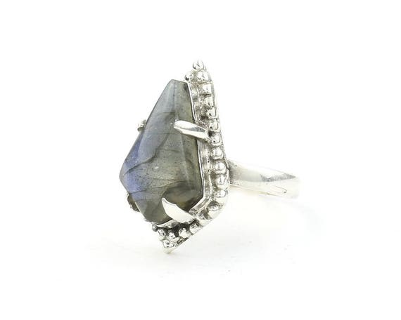 Lover's Coffin Ring, Sterling Silver Labradorite Ring, Gemstone, Festival Jewelry, Boho, Wiccan, Gypsy, Hippie, Spiritual