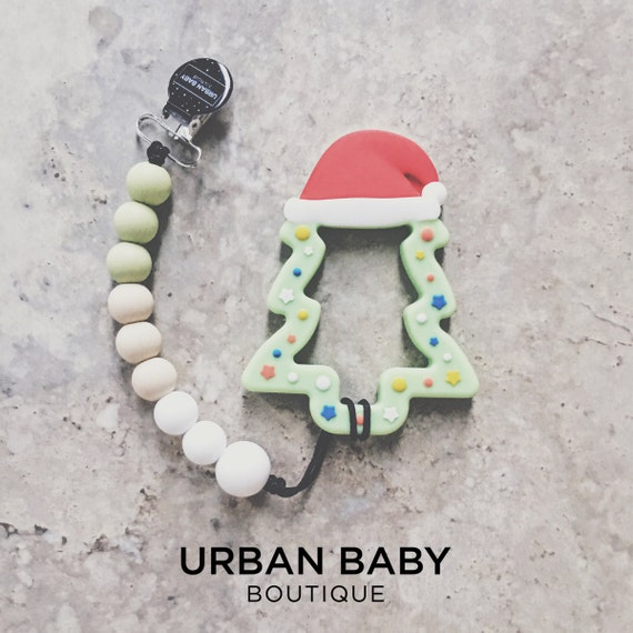 Christmas Tree Teething Toy with Pacifier Clip - Teething, baby shower, baby gift, teething clip, sensory toy, chewelry, christmas, green