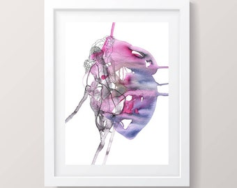 Anatomical heart, art prints, pink giclee print, watercolor art, gift for wives, gallery wall decor, gift for her, anatomical art