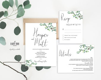 Wedding Invitation Suite , Greenery Wedding Invitation , DIY Wedding Invitation , Printable Wedding Invitation , Leaves Wedding Invitation
