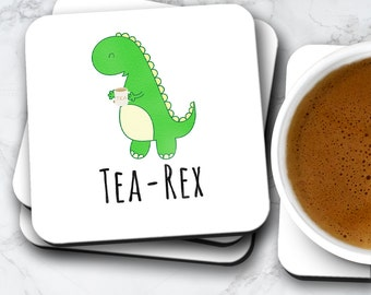 Tea Rex Funny Coaster | Dinosaur Tyrannosaurus Gift For Him Her | Coasters Set Birthday Valentines Christmas | Mugs Also Available