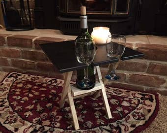 2 GLASS BLACK Wine Caddy Folding Table, Travel Wine Carrier, Wine Server Table, Wine Table Cutting Board, Outdoor Picnic Wine Table