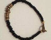 Black & Brass Stacker Beaded Bracelet