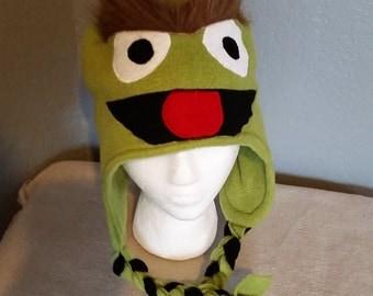 Oscar the Grouch Muppet Hat/ Sesame Street Oscar the Grouch/ Oscar the Grouch Children and Adult Fleece Hat/ Great halloween hat