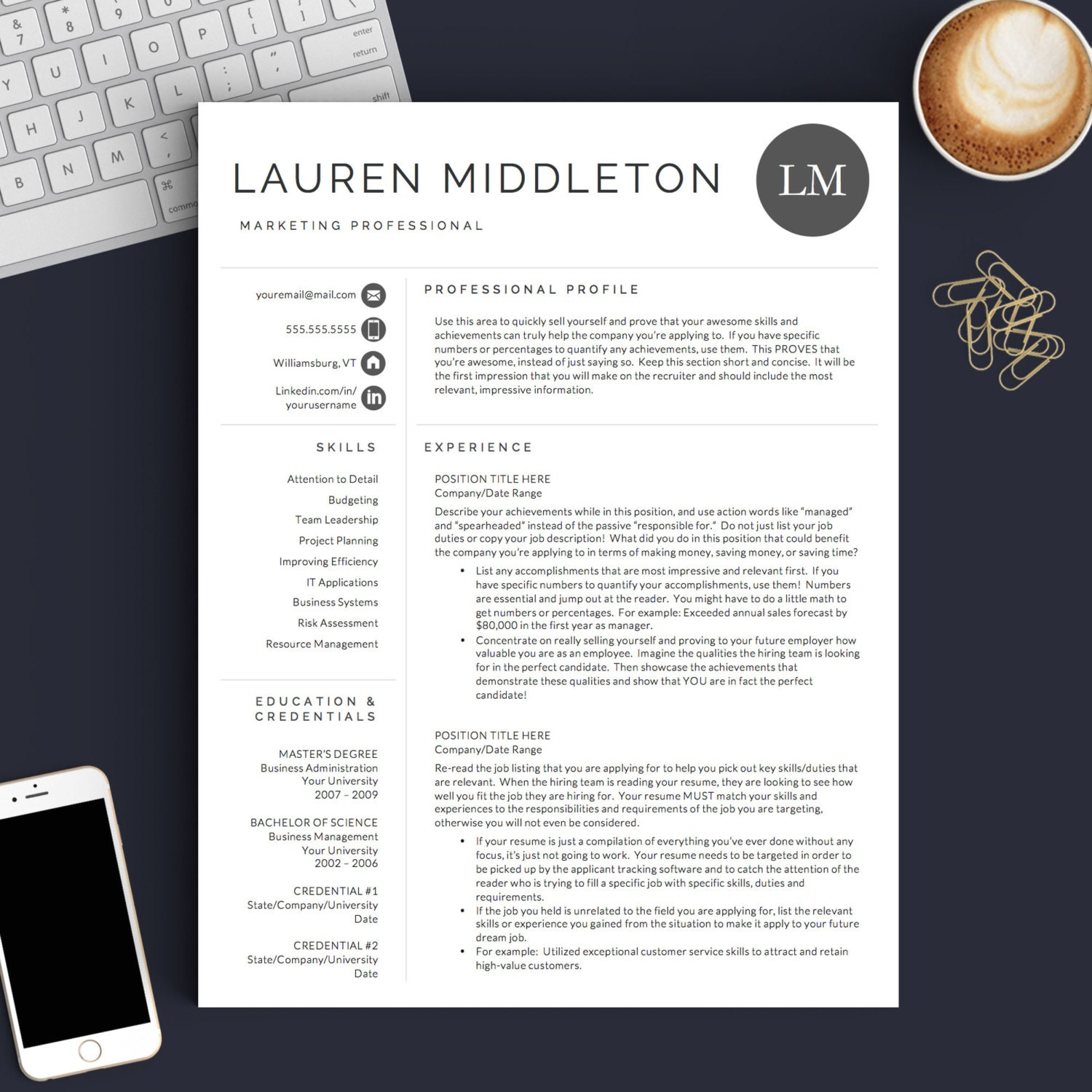 Professional Resume Word Template: Professional Resume Template For Word & Pages 1 2 And 3