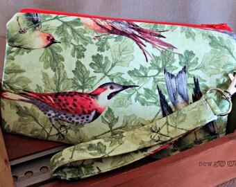 Birds of a Feather Wristlet - Clutch - Wallet - Everyday Geeky - OOAK - Custom Made