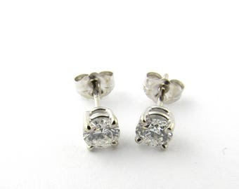 Vintage 14 Karat White Gold Diamond Stud Earrings .76 ct. #1978