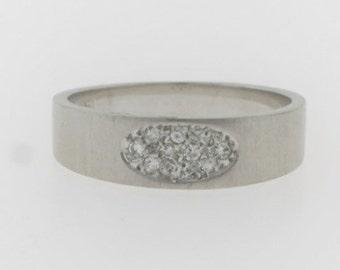 Cluster Diamond Wedding Band- 14k White Gold