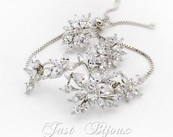 Wedding Earrings Wedding Bracelet Platinum Zirconia Bridal Earrings Wedding Jewelry Bridal Jewelry Bridal Earrings Bridesmaid Gift leaf