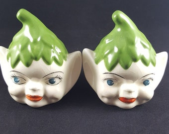 Vintage Elf Pixie Salt And Pepper Shakers Hand Painted Vintage