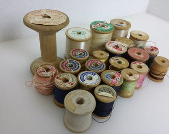 Vintage 23 wooden thread spools mixed lot assorted sizes colors empty cotton polyester sewing decor craft supplies