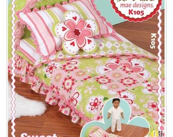 "Sewing Pattern for Sweet Dreams Doll Bed, Kwik Sew Pattern 0105, 18"" Doll Bed fits American Girl, Ellie Mae Design, DIY Gift Child, Bedding"