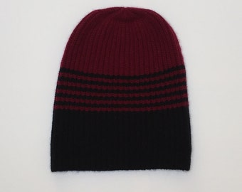 Cashmere hat two-tone, black red, cashmere has