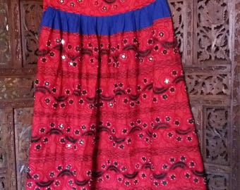 red embroidered hippie skirt with mirrors