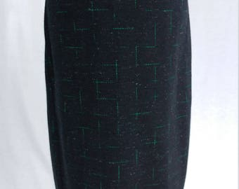 1960's Vintage High Waisted Pencil Skirt - Black Wool w/ Green Embroidery