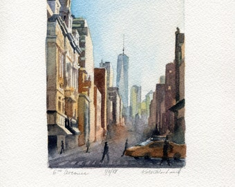 """4""""x6"""" Original Watercolor Painting - 6th Avenue, One World Trade Center"""